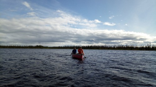 Visiting study sites by canoe…