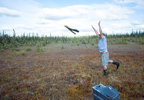 Alex launching the Ebee UAV